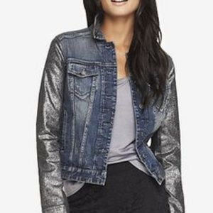 Express Jean Jacket with Crackled Metallic Sleeves